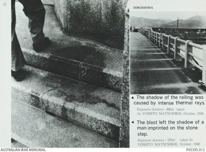 2. Силуэт мужчины, оставшийся после ядерного взрыва в Хиросиме в 1945-м. Такой эффект возникает вследствие действия светового излучения при ядерном взрыве. Жуткие фото, жутко, интересно, исторические фото, история, необъяснимое, редкие фото, фото