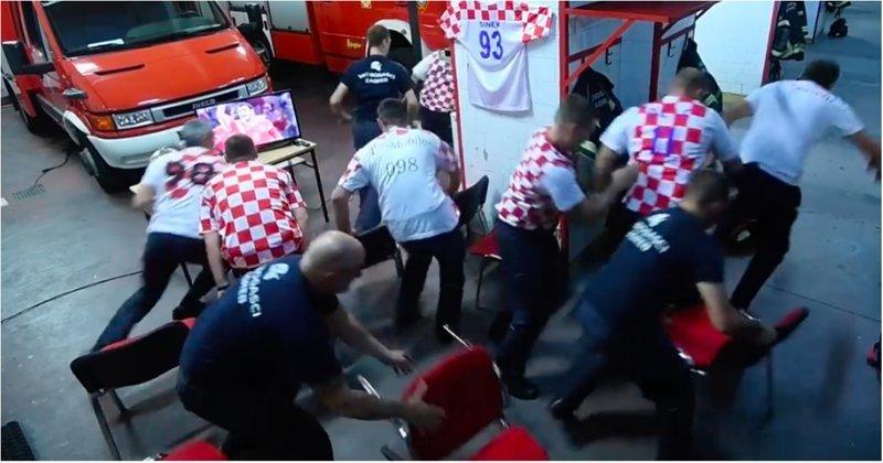 Работа превыше всего: хорватские пожарные бросились на вызов во время решающего пенальти своей сборной видео, пожарные, пожарный, россия, спорт, футбол, хорватия, чемпиона мира