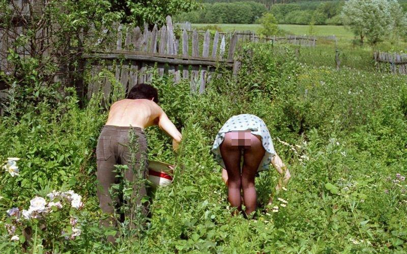 Фото баба на огороде раком, порно с неграми жены