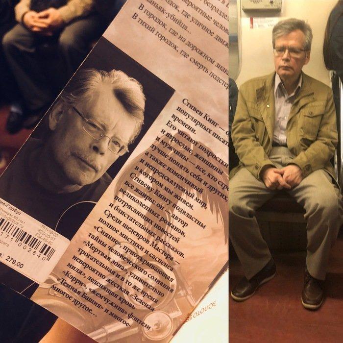 Стивен Кинг решил прокатиться в метро в мире, двойник, знаменитости, люди, похожи, юмор