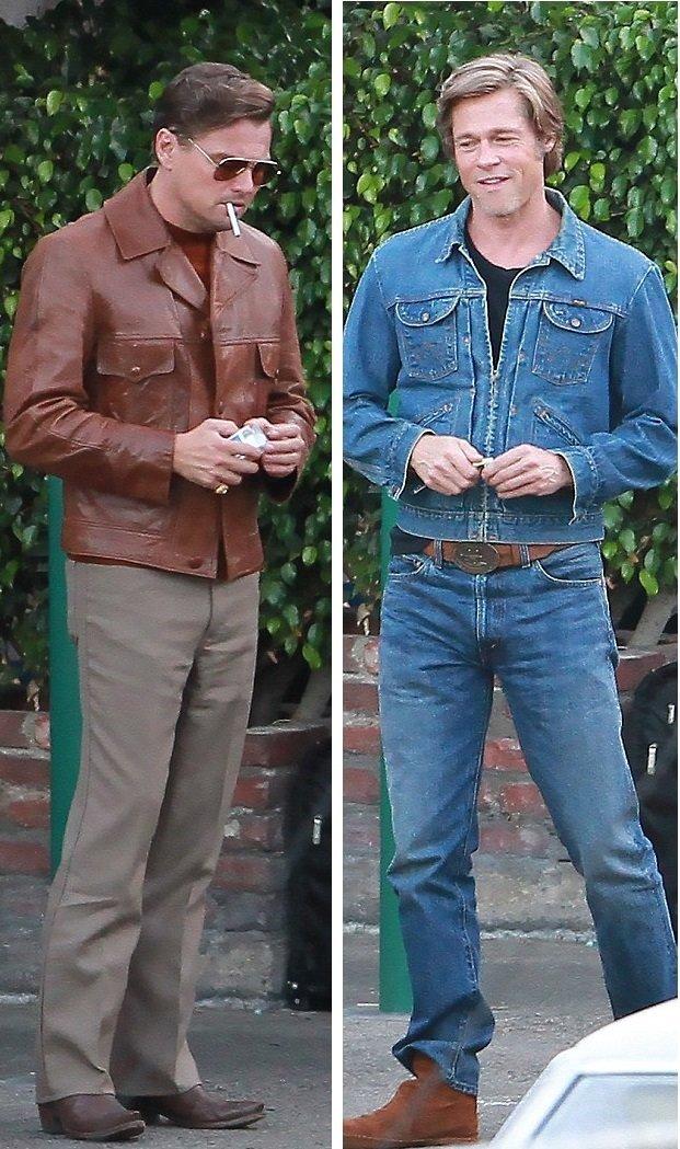 Питт и  Ди Каприо на время съемок облачились в винтажные костюмы в стиле 60-х актер, голливуд, знаменитость, кино, режиссер, съемки, тарантино
