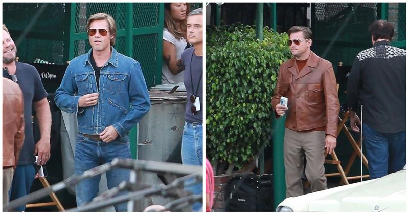 Брэд Питт и Леонардо Ди Каприо встретились на съемках нового фильма Квентина Тарантино актер, голливуд, знаменитость, кино, режиссер, съемки, тарантино