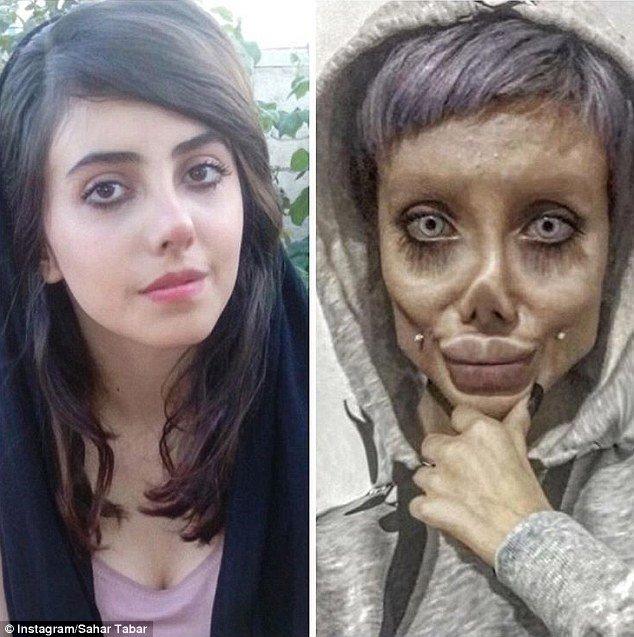 """Иранская """"копия"""" Анджелины Джоли показала свое настоящее лицо анджелина джоли, было и стало, и такое бывает, инстаграм-блогерши, как страшно жить, макияж, превращение, трансформация"""