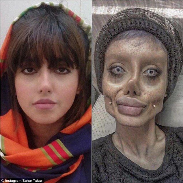 В действительности звезда Инстаграма - натуральная брюнетка с карими глазами анджелина джоли, было и стало, и такое бывает, инстаграм-блогерши, как страшно жить, макияж, превращение, трансформация