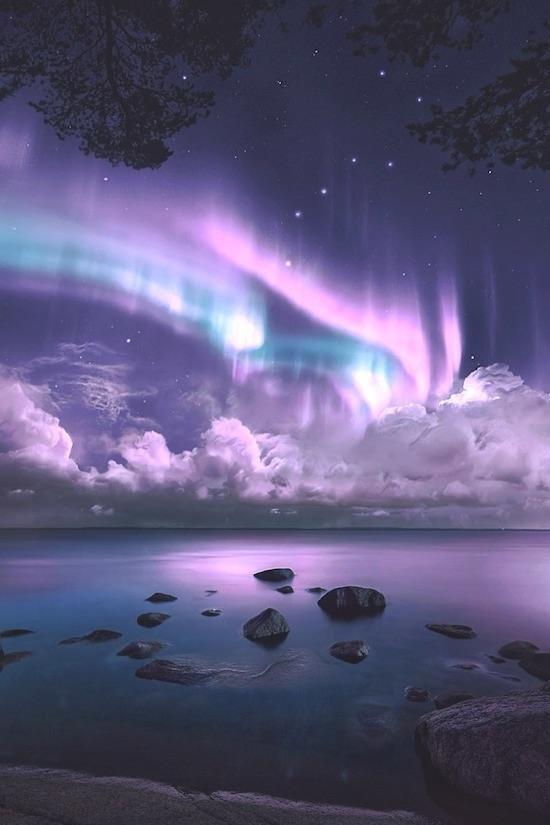 Сказочное северное сияние день, животные, кадр, люди, мир, снимок, фото, фотоподборка