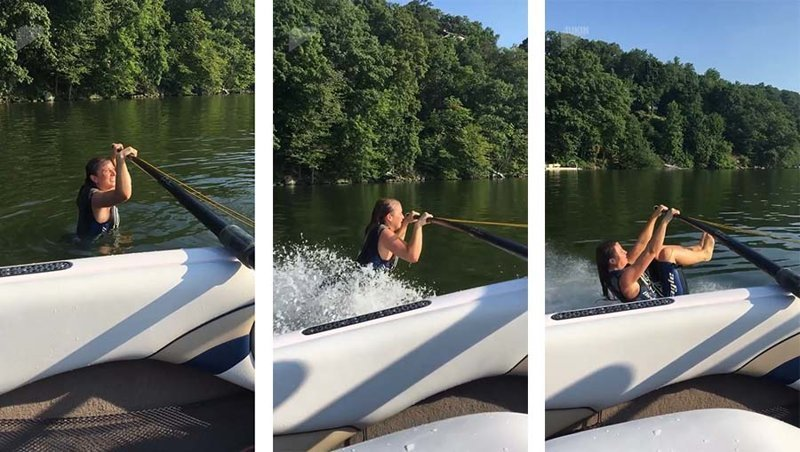 Женщину пулей отбросило в сторону, когда она неудачно пыталась поскользить по воде без лыж в мире, видео, вода, казус, люди, прикол