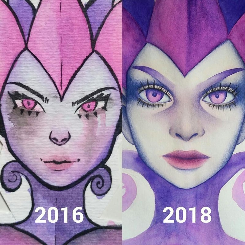 Художники запустили флешмоб: они перерисовывают свои старые работы. Разница очевидна! до и после, искусство, рисунок, тогда и сейчас, художник
