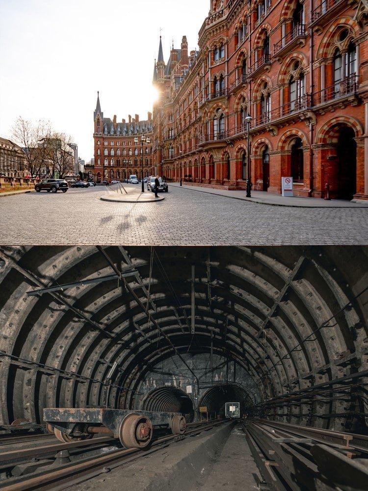 Англия: Отель St. Pancras Renaissance находится над заброшенной железнодорожной частью Лондонского почтового музея в мире, достопримечательности, интересно, под землей, фото