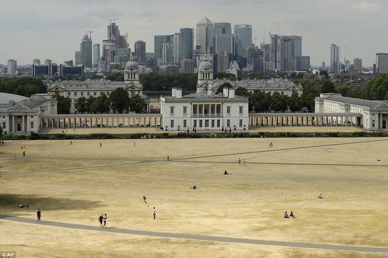 Гринвич-парк, юго-восточный Лондон англия, аномальная жара, аэрофотосъемка, великобритания, засуха, лондон, раньше и сейчас, сравнение