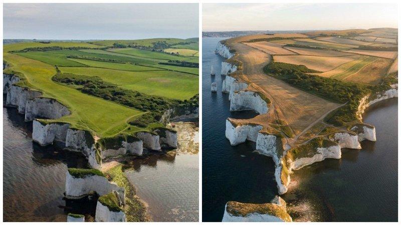 Зеленые английские поля превратились в саванну из-за рекордной засухи англия, аномальная жара, аэрофотосъемка, великобритания, засуха, лондон, раньше и сейчас, сравнение