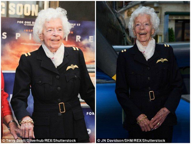 """Две недели назад 101-летняя Мэри Эллис посетила премьеру британского документального фильма """"Spitfire"""" в Лондоне вторая мировая война, женщина-пилот, история, летчики, новости, память, пилоты, смерть"""