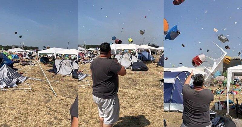 Небольшой торнадо поднял в воздух палаточный городок в Германии Фестиваль, ветер, видео, палаточный городок, прикол, смерч, торнадо стихия