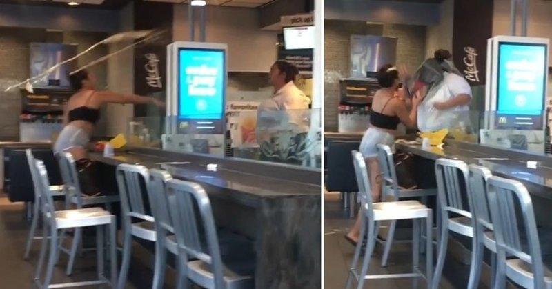 В США сотрудница McDonalds жестоко избила посетительницу за бесплатную содовую mcdonalds, в мире, газировка, девушки, драка, люди, сша