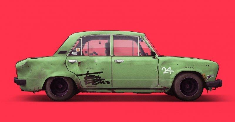 Крутые арты отечественных автомобилей с душой art, авто, автодизайн, автомобили, дизайнер, искусство, отечественный автопром, рисунок