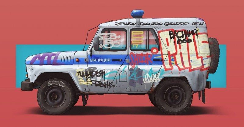 «Когда в городе революция, война, беспорядки» мусоровозы первыми попадут под огонь радикальной молодежи. Но это не сейчас и не завтра. art, авто, автодизайн, автомобили, дизайнер, искусство, отечественный автопром, рисунок