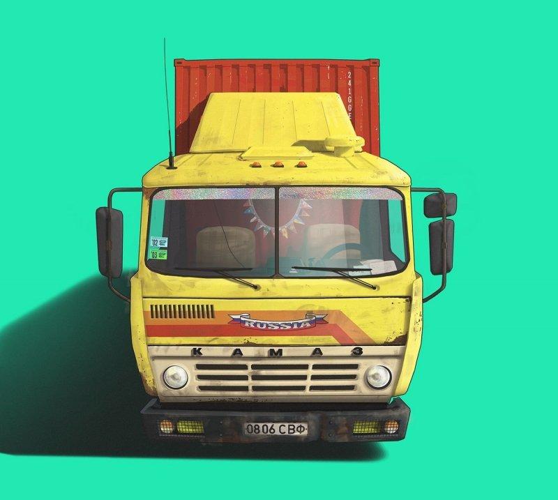 КамАЗ 5410 art, авто, автодизайн, автомобили, дизайнер, искусство, отечественный автопром, рисунок