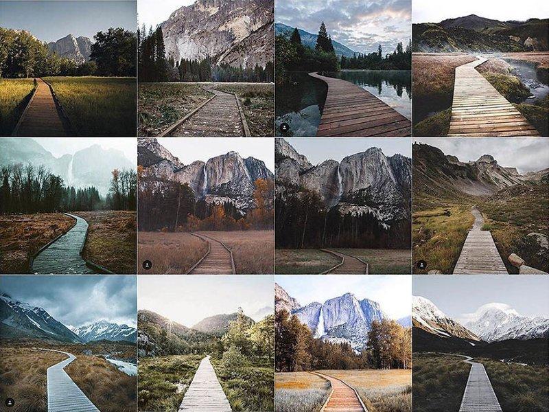 23. Деревянная дорожка Instagram, коллаж, компиляция, однообразие, снимок, фотография, фотомир