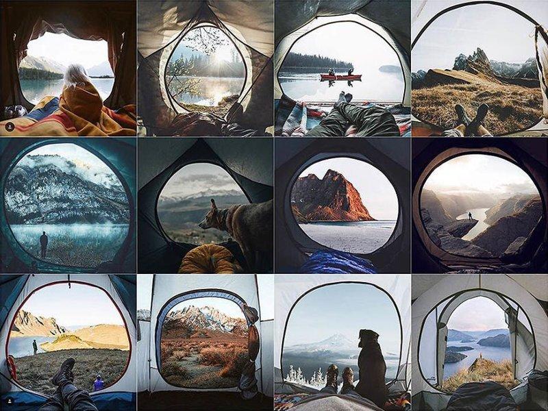 3. Вид из палатки Instagram, коллаж, компиляция, однообразие, снимок, фотография, фотомир