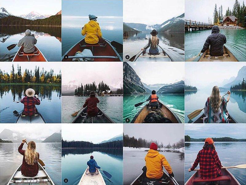 8. Человек в каноэ Instagram, коллаж, компиляция, однообразие, снимок, фотография, фотомир