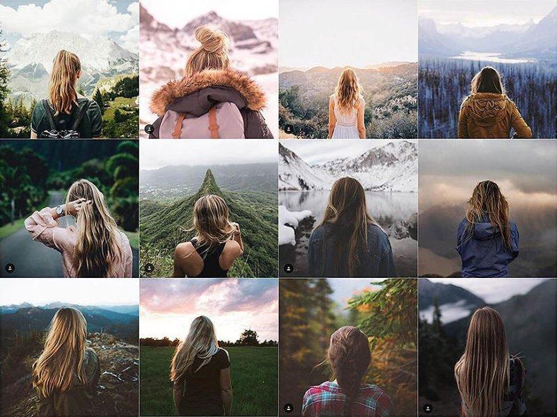 28. Девушка со спины Instagram, коллаж, компиляция, однообразие, снимок, фотография, фотомир