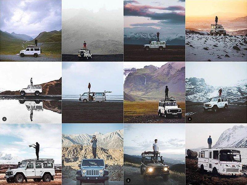 1. На крыше автомобиля в дикой местности Instagram, коллаж, компиляция, однообразие, снимок, фотография, фотомир