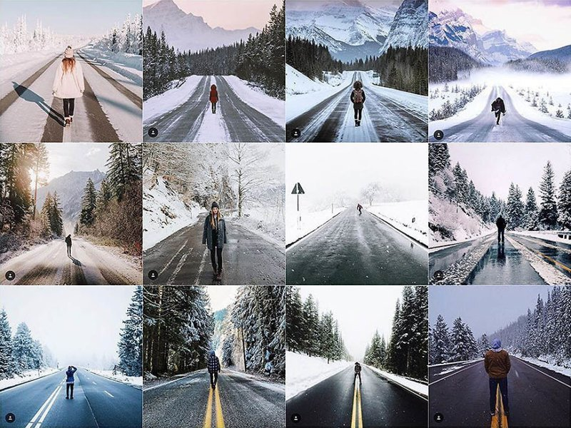 27. Зимняя дорога Instagram, коллаж, компиляция, однообразие, снимок, фотография, фотомир