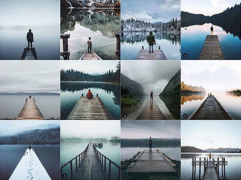 13. На краю пирса Instagram, коллаж, компиляция, однообразие, снимок, фотография, фотомир