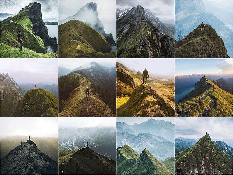 21. Человек на горном хребте Instagram, коллаж, компиляция, однообразие, снимок, фотография, фотомир