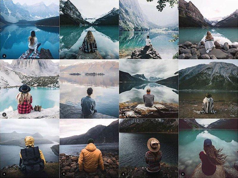 25. Человек у озера Instagram, коллаж, компиляция, однообразие, снимок, фотография, фотомир