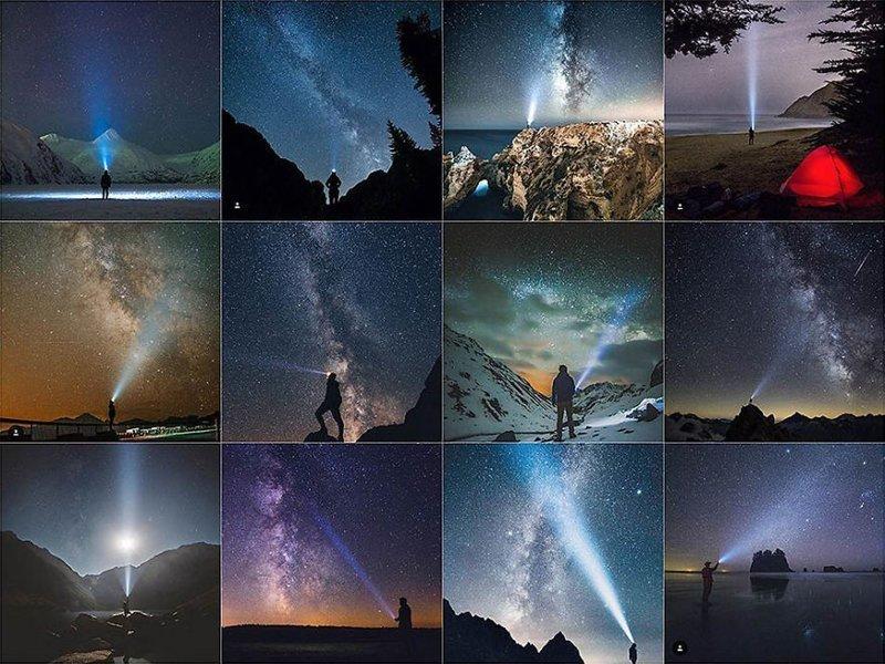 18. Фонарь и звездное небо Instagram, коллаж, компиляция, однообразие, снимок, фотография, фотомир