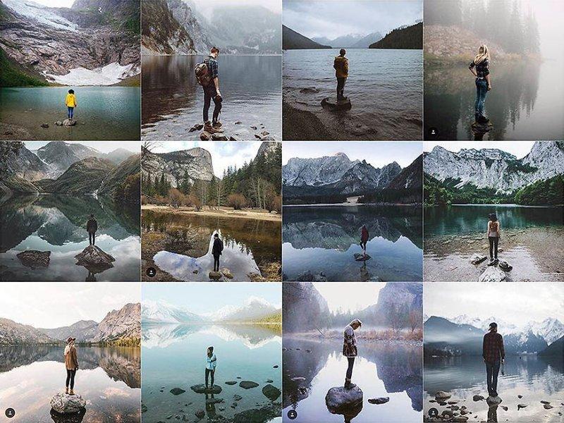 17. На камне в воде Instagram, коллаж, компиляция, однообразие, снимок, фотография, фотомир