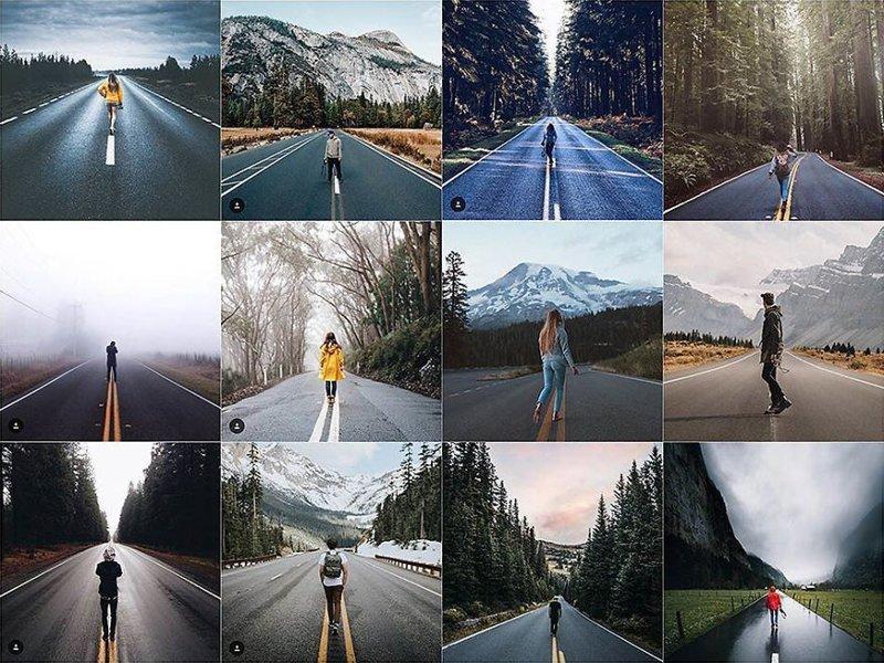 15. На пустой дороге Instagram, коллаж, компиляция, однообразие, снимок, фотография, фотомир