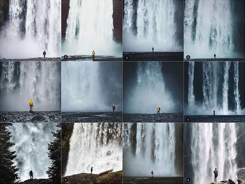 22. У водопада Instagram, коллаж, компиляция, однообразие, снимок, фотография, фотомир