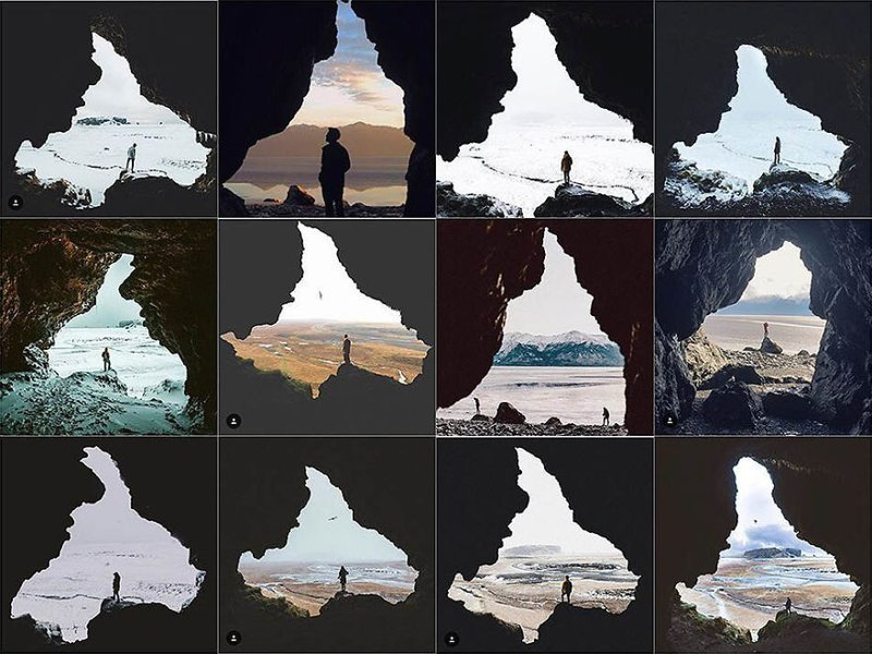 11. Человек у пещеры Instagram, коллаж, компиляция, однообразие, снимок, фотография, фотомир