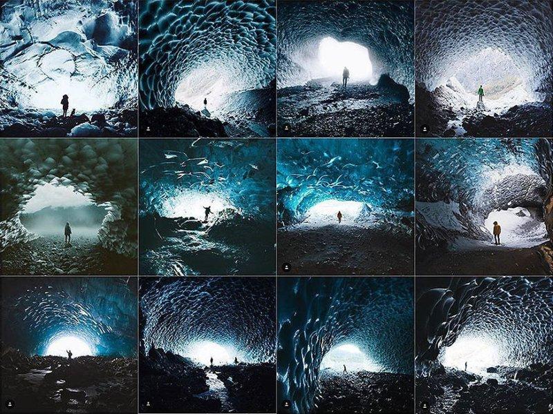 10. Человек в ледяной пещере Instagram, коллаж, компиляция, однообразие, снимок, фотография, фотомир