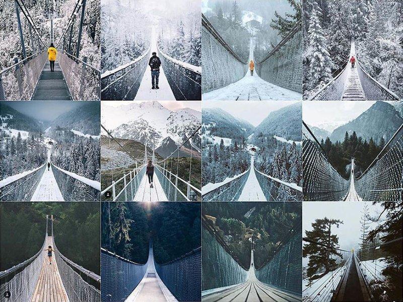 4. Человек на подвесном мосту Instagram, коллаж, компиляция, однообразие, снимок, фотография, фотомир