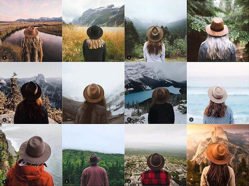 7. Девушка в шляпе со спины Instagram, коллаж, компиляция, однообразие, снимок, фотография, фотомир