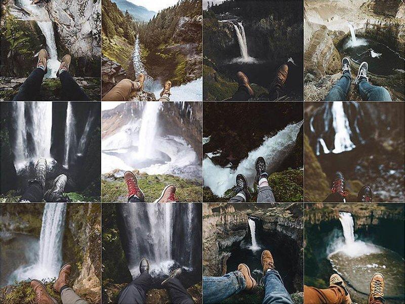 24. Ноги на фоне водопада Instagram, коллаж, компиляция, однообразие, снимок, фотография, фотомир