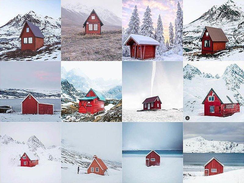 19. Красный дом Instagram, коллаж, компиляция, однообразие, снимок, фотография, фотомир