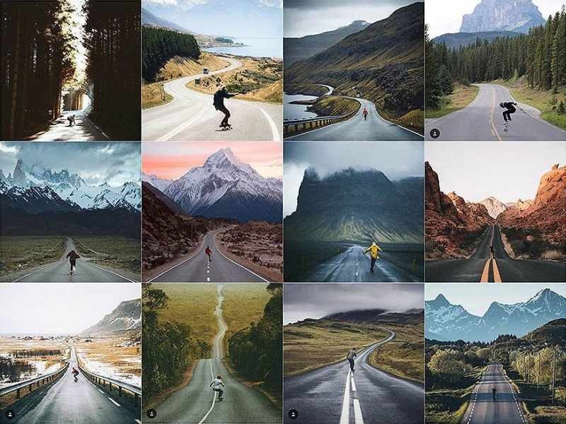 29. Одинокий скейтбордист Instagram, коллаж, компиляция, однообразие, снимок, фотография, фотомир