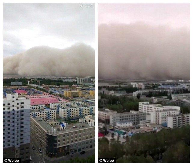 Сообщается, что в городе повалены деревья и разрушены некоторые здания, но жертв нет ynews, апокалипсис, видео, вот это да!, зрелище, китай, песчаная буря, природный катаклизм