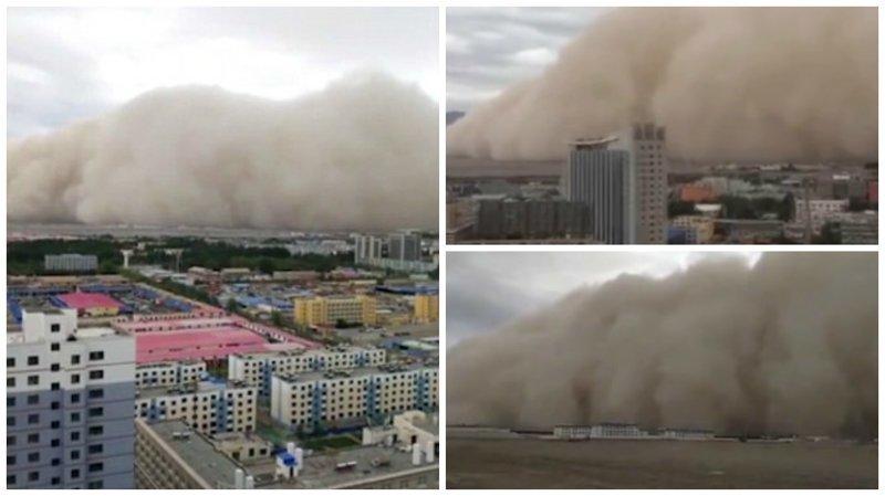 Видео: в Китае песчаная буря накрыла город за считанные секунды ynews, апокалипсис, видео, вот это да!, зрелище, китай, песчаная буря, природный катаклизм