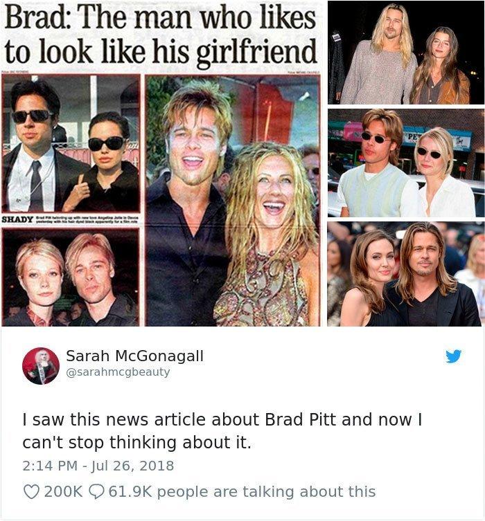 Хамелеон Питт: человек, который любит быть похожим на свою девушку