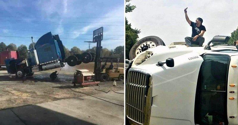 Необычные происшествия, которые могли случиться только с водителями грузовиков грузовик, грузовики, камаз, прикол, тягач, юмор