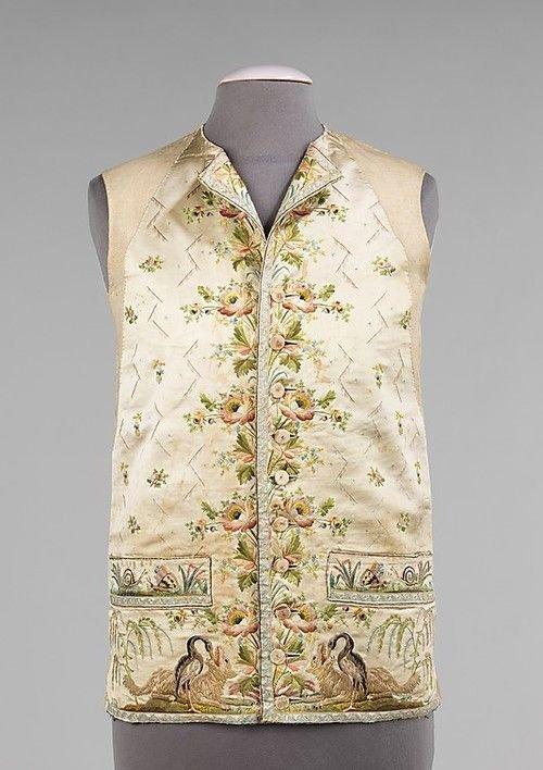Французский вышитый жилет, датированный между 1785 и 1795 годами вышивка, искусство. шитье, красота, старинные