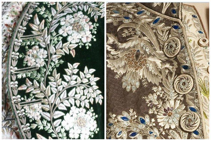 Вышивка на платье, Франция, 1785-1790 вышивка, искусство. шитье, красота, старинные