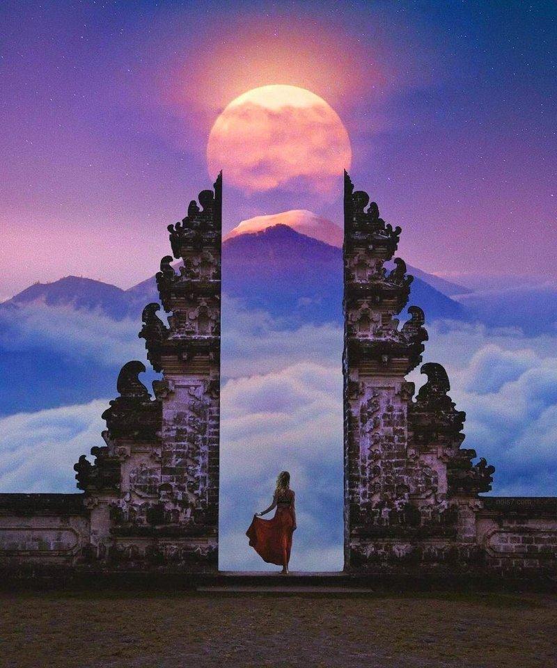 Кровавая Луна над Бали день, животные, кадр, люди, мир, снимок, фото, фотоподборка