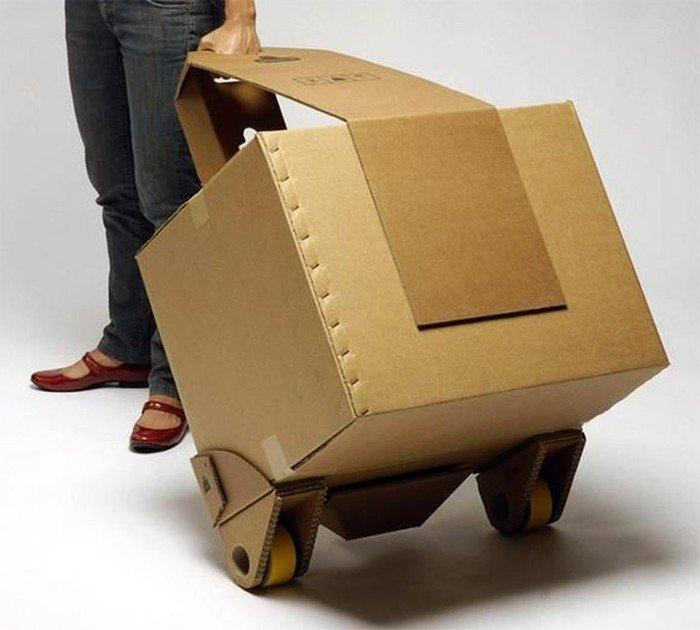 Просто чемодан на колёсиках handmade, вещи из мусора, вторая жизнь, как это сделать, картон, картонная коробка, переделка