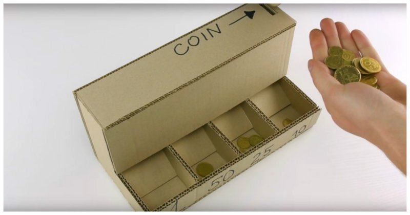 Простейшая машина для сортировки монет своими руками handmade, вещи из мусора, вторая жизнь, как это сделать, картон, картонная коробка, переделка