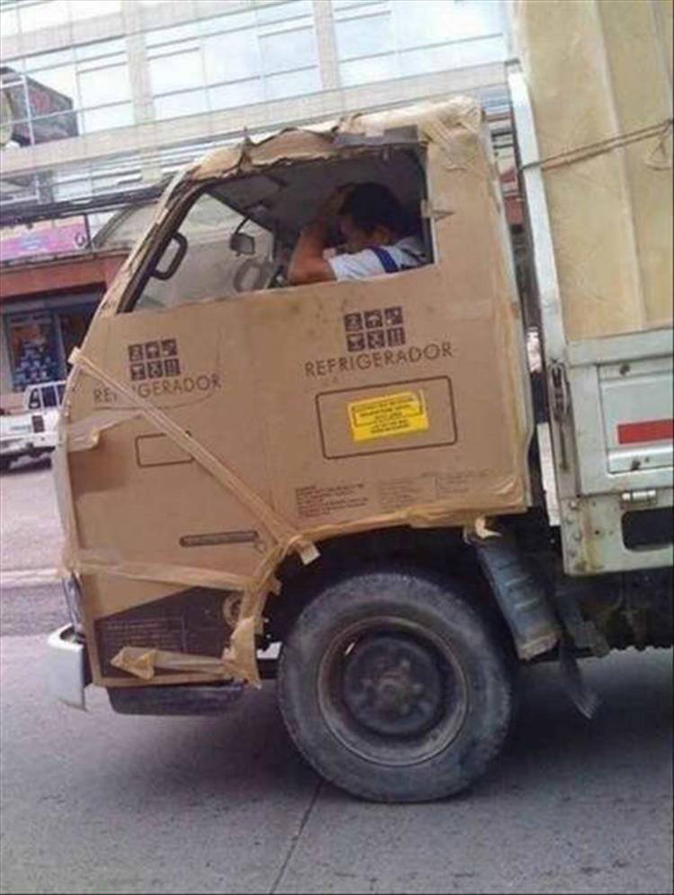 Когда нет денег на нормальную кабину автомобиля handmade, вещи из мусора, вторая жизнь, как это сделать, картон, картонная коробка, переделка